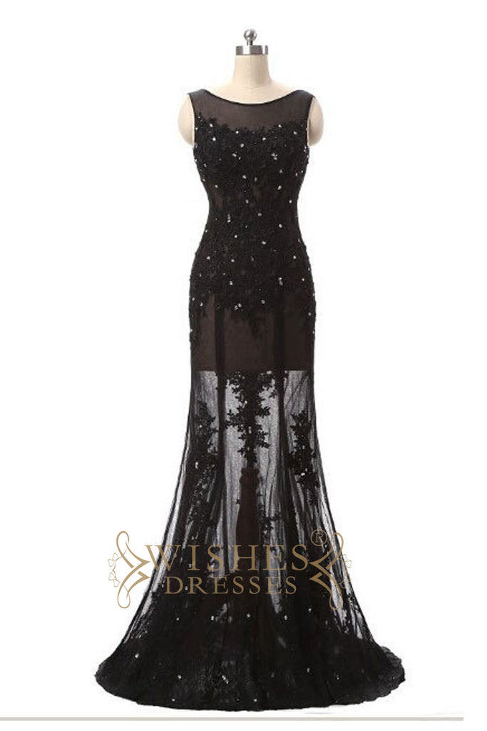 2017 A-line Applique Lace Black Prom Dress /Formal Dresses AM566