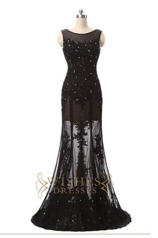 A-line Applique Lace Black Prom Dress /Formal Dresses AM566