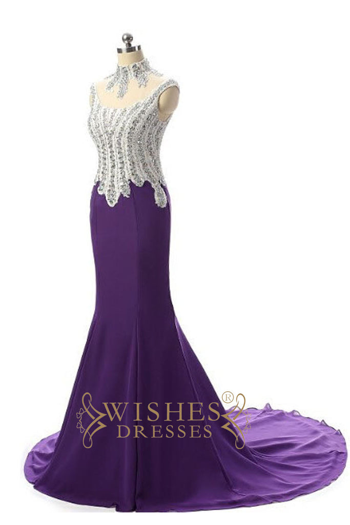 Mermaid High Neck Purple Long Prom Dress /Formal Dresses AM567