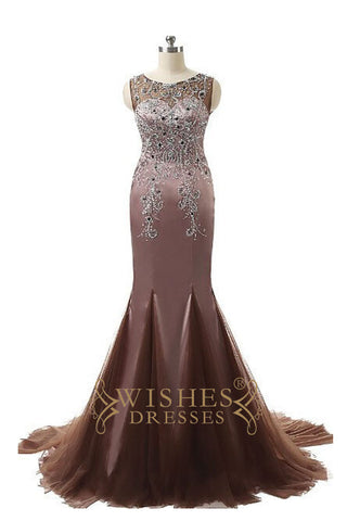 2017 Beaded Mermaid Chocolate Long Prom Dress /Formal Dresses AM568