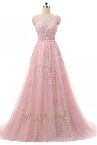 2017 Pink Long  Lace Prom Dress /Formal Dresses AM570