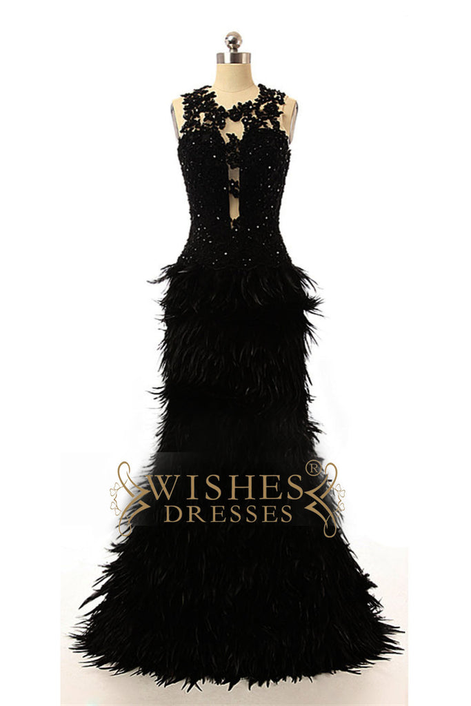 Black Feather Prom Dress /Formal Dresses AM573