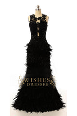 2017 Black Feather Prom Dress /Formal Dresses AM573