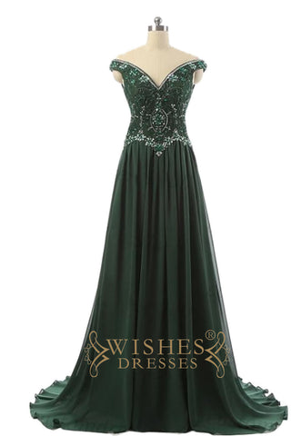 2017 Dark Green Off-the-shoulder Prom Dress /Formal Dresses AM574