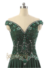 Dark Green Off-the-shoulder Prom Dress /Formal Dresses AM574