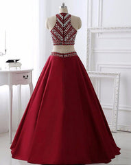 Beaded Bodice Two Pieces Long Formal Dress/ Evening /Prom Dresses Am576