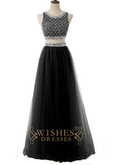 A-line Two Pieces Gold Tulle Long Formal Dress Am577