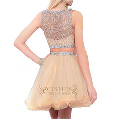 A-line Short Two Pieces Tulle Formal Dress Am578