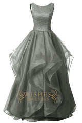 A-line Beaded Bodice Organza Evening Dress /Prom Dresses AM579