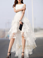 2018 New Arrival White High Low Lace Wedding Dresses AM589