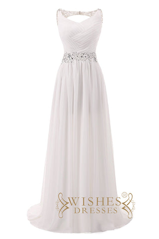 2018 Pleated Bodice Round Neckline Floor Length Beach Wedding Dresses AM590