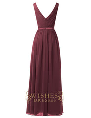 2018 V-neck Long Bridesmaid Dresses Am593