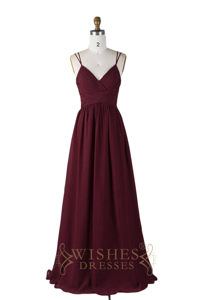 Spaghetti Straps Burgundy Chiffon Bridesmaid Dress AM594