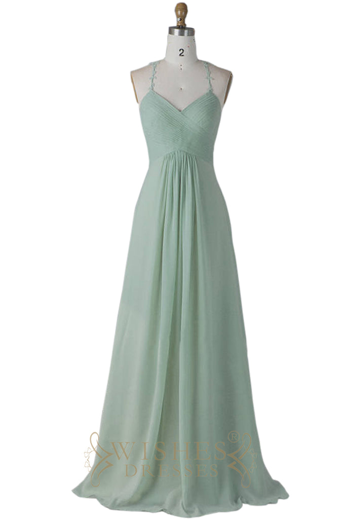 2018 Spaghetti Straps Sage Chiffon Bridesmaid Dress AM596