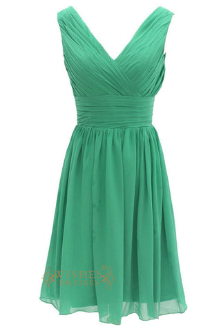 Green Knee Length Chiffon Bridesmaid Dress With V Neckline Style Am001