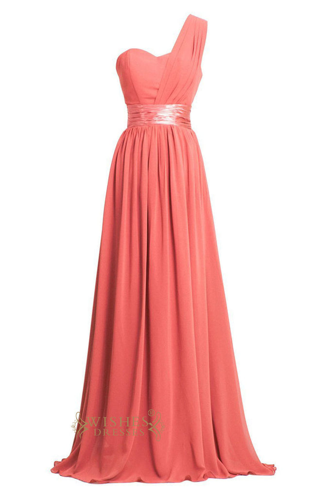 Long Coral Chiffon One Shoulder Empire Bridesmaid Dresses /Prom Dresses Am02