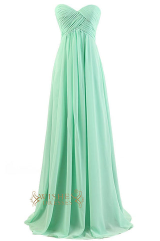 Empire Mint Chiffon Sweetheart Floor Length Bridesmaid Dresses With Strapless Top Prom Dresses Am04