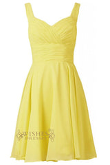 Yellow Chiffon Knee Length Sweetheart Neckline Bridesmaid Dress With Ruched Waistband Am005