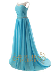 Sexy Illusion Beaded Top Blue Chiffon Long Prom Dresses For Evening Formal Party Am06