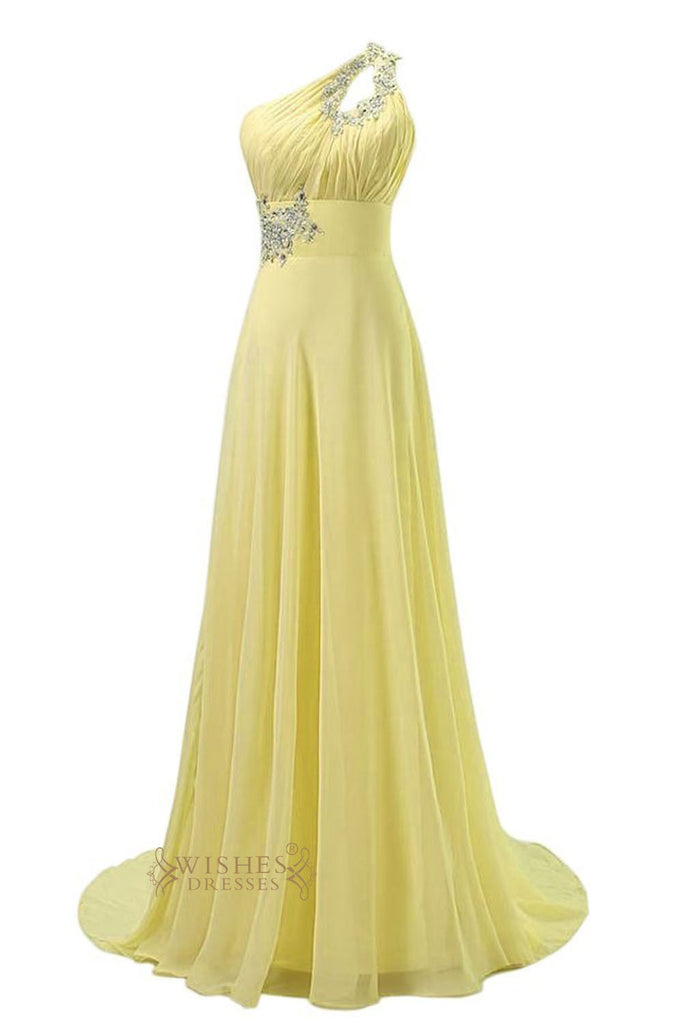 Beaded Keyhole Single Strap Daffodil Chiffon Long Prom Dress/  One-shoulder Formal Dress Am07