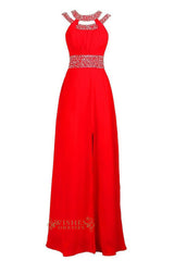 Beaded Details Open Back Red Long Prom Dresses With Split Skirt Formal Gown Am09