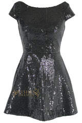 Scoop Neckline Open Back Black Sequins Short Prom Dresses Am102