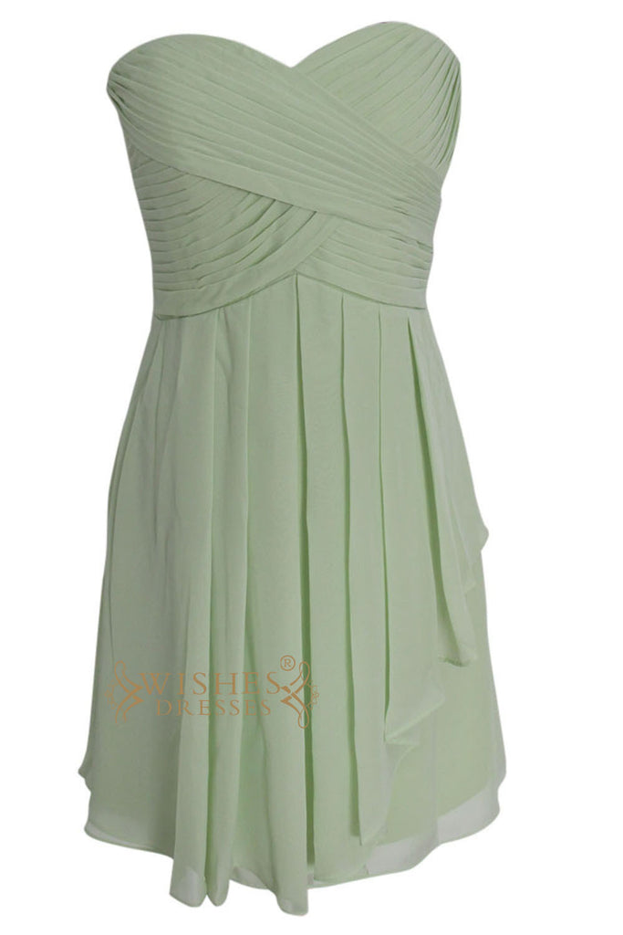 A-line Ruched Sage Bridesmaid Dresses Am104