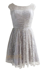 Cap Sleeves Silver Lace Bridesmaid Dress/ Cocktail Dress Am106