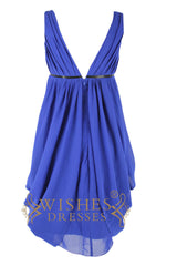 V-neck Gown With Belt Short Chiffon Prom Dress  Am108