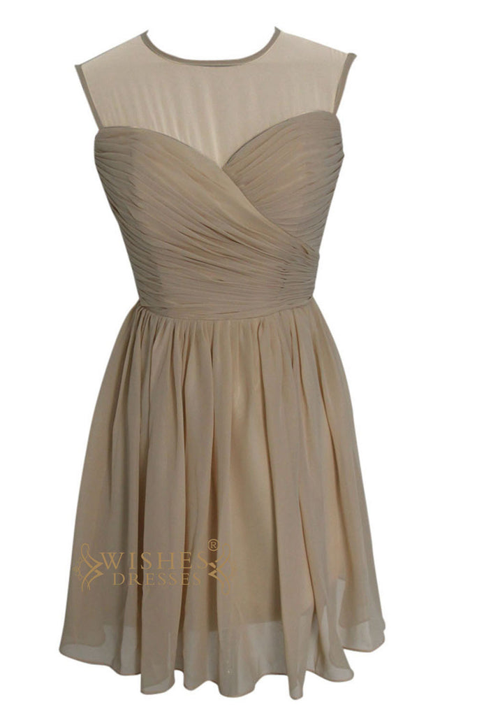 O-neck Illusion Top Bridesmaid Dress With Keyhole Back Am110