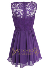 A-line Illusion Lace top Purple Bridesmaid Dresses Am113