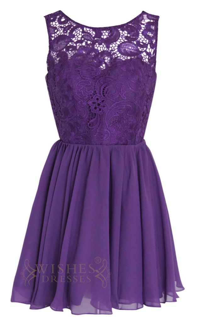 A line illusion lace top purple bridesmaid dresses am113 for Purple lace wedding dress