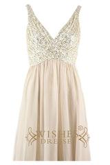 Sequins Bodice A-line Long Formal Dress Am115