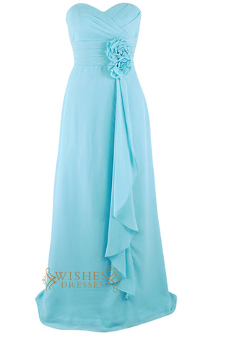 A-line Blue Floor Length Bridesmaid Dress With Flower Am116