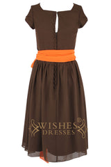 Square Neckline Short Sleeves Mother of The Bride Dress With Orange Sash Am117