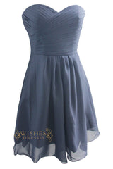 Black Chiffon Knee Length Strapless Bridesmaid Dress AM98