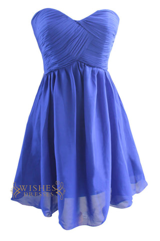 Affordable Royal Blue Chiffon Short Bridesmaid Dress Am123