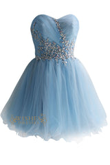 Sky Blue Tulle & Organza Short Prom Dresses AM124