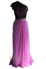 Black Lace One shoulder Evening Gown With Lilac Chiffon Skirt Am125