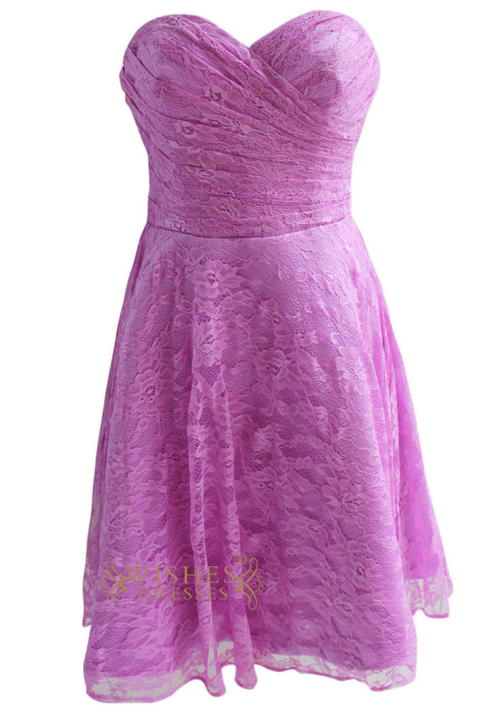 Lilac Lace Short Bridesmaid Dress Am126
