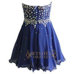 Rhinestones Royal Blue Chiffon Short Prom Dresses Am128