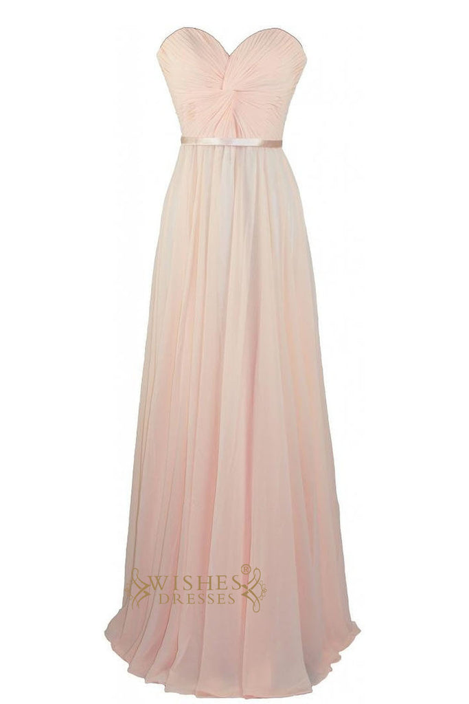 Simple Style Pink Criss-cross Front Center Empire Long Prom Dress Bridesmaid Dresses Am12
