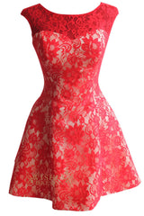 Cap Sleeves Bridesmaid Dress Red Lace Short Prom Dress Am130
