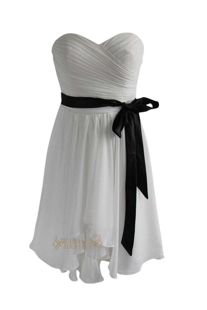 A-line White Chiffon Knee Length Bridesmaid Dress With Sash Am134