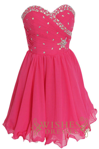 a-line Hot Pink Chiffon Short Prom Dress Am135