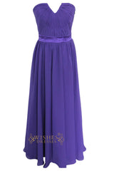 Grey New A-line Purple Chiffon Floor Length Bridesmaid Dresses Am184