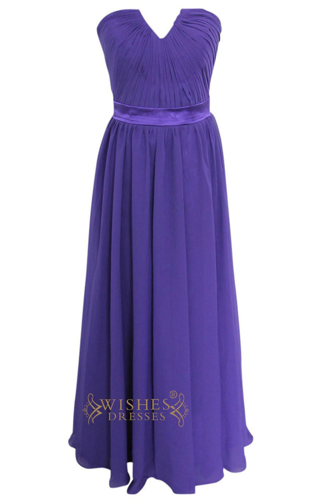 A-line Purple Chiffon Floor Length Bridesmaid Dresses AM136