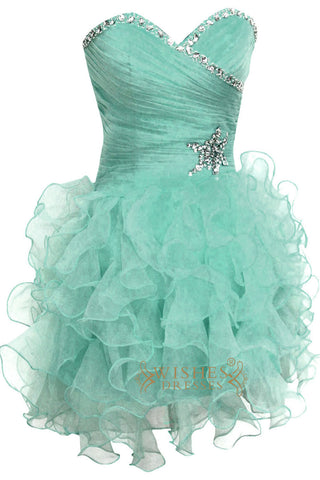Blue Organza Ruffle Skirt Homecoming Dress Am139
