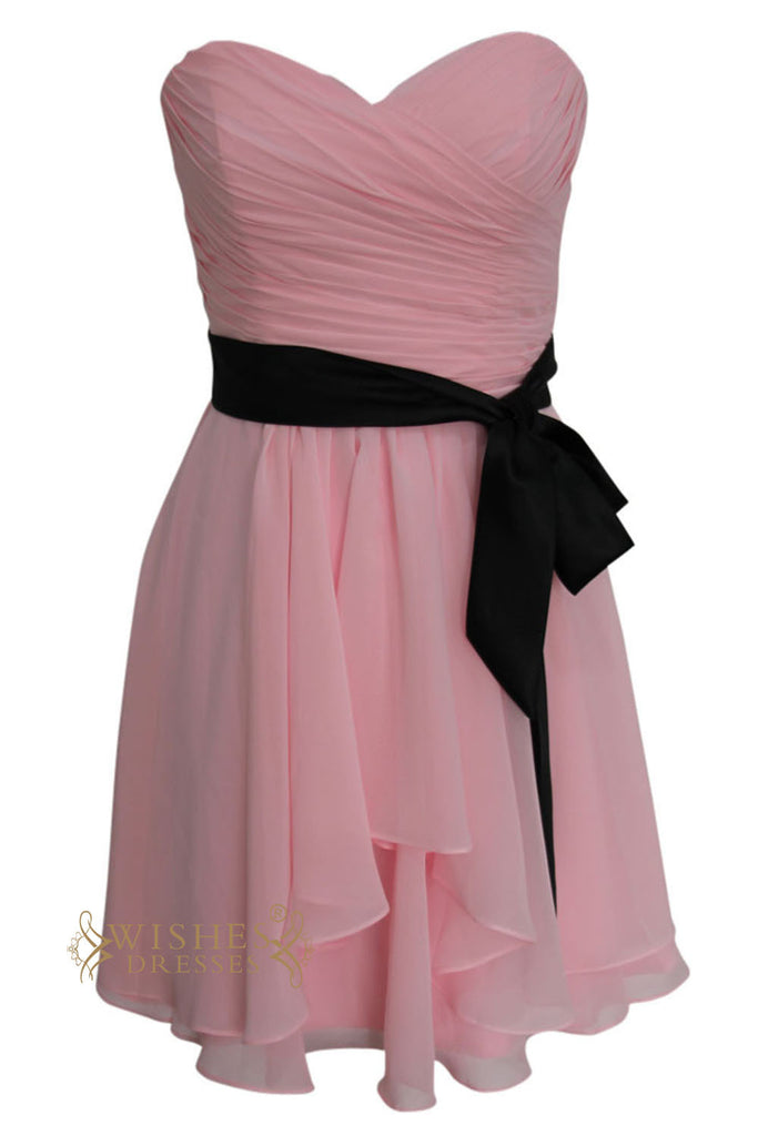 A-line Pink Chiffon Knee Length Bridesmaid Dress Am142