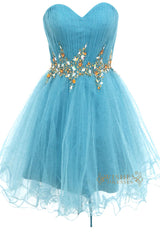 A-line Sweetheart Blue Tulle Short Prom Dresses Am143